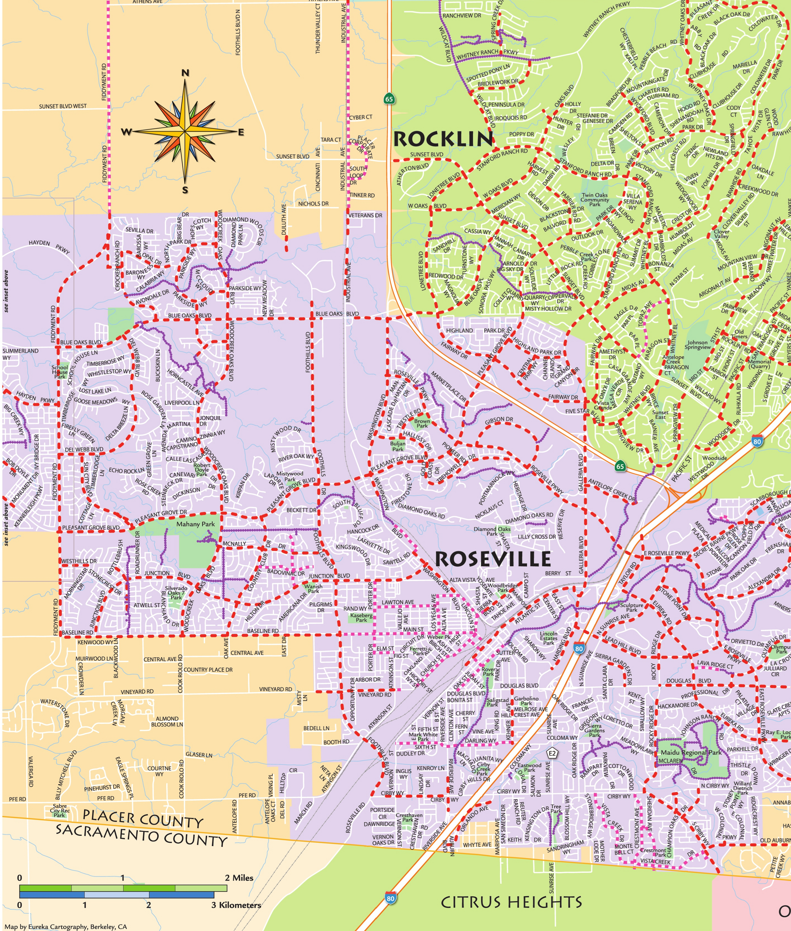 placer county bike map roseville and vicinity pctpa